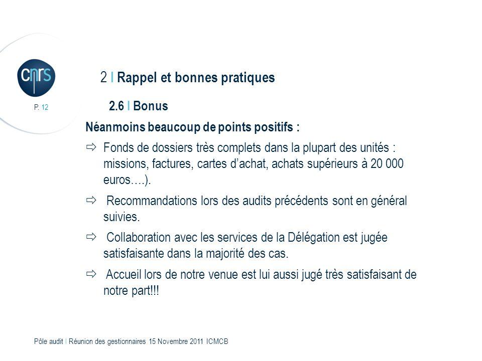 P. 12 Pôle audit l Réunion des gestionnaires 15 Novembre 2011 ICMCB 2.6 I Bonus Néanmoins beaucoup de points positifs : Fonds de dossiers très complet