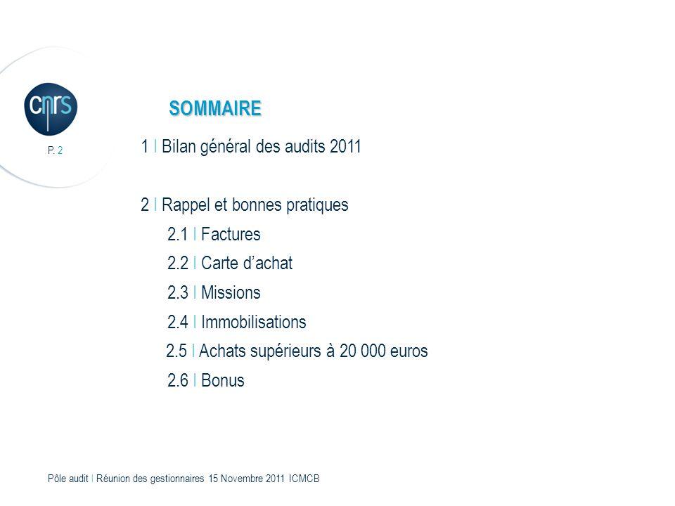 P. 2 Pôle audit l Réunion des gestionnaires 15 Novembre 2011 ICMCB 1 I Bilan général des audits 2011 2 I Rappel et bonnes pratiques 2.1 I Factures 2.2