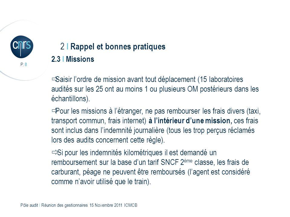 P. 8 Pôle audit l Réunion des gestionnaires 15 Novembre 2011 ICMCB 2.3 I Missions Saisir lordre de mission avant tout déplacement (15 laboratoires aud