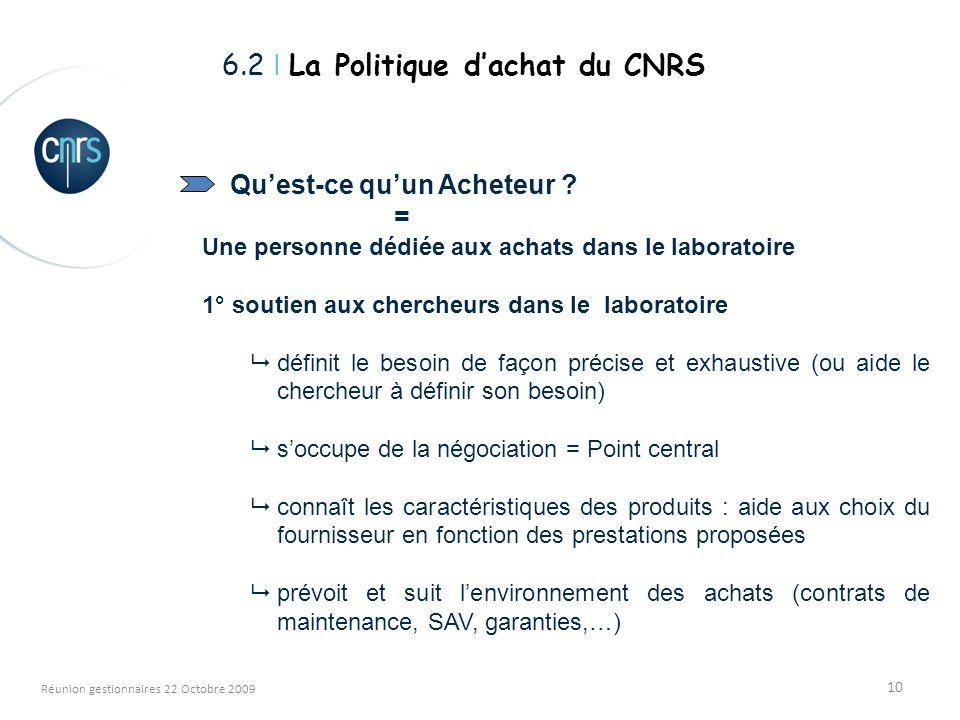 10 Réunion gestionnaires 22 Octobre 2009 Quest-ce quun Acheteur .