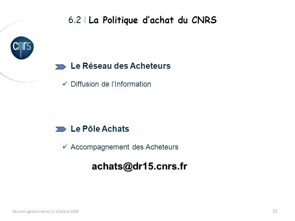 11 Réunion gestionnaires 22 Octobre 2009 Le Réseau des Acheteurs Diffusion de lInformation Le Pôle Achats Accompagnement des Acheteursachats@dr15.cnrs.fr 6.2 I La Politique dachat du CNRS