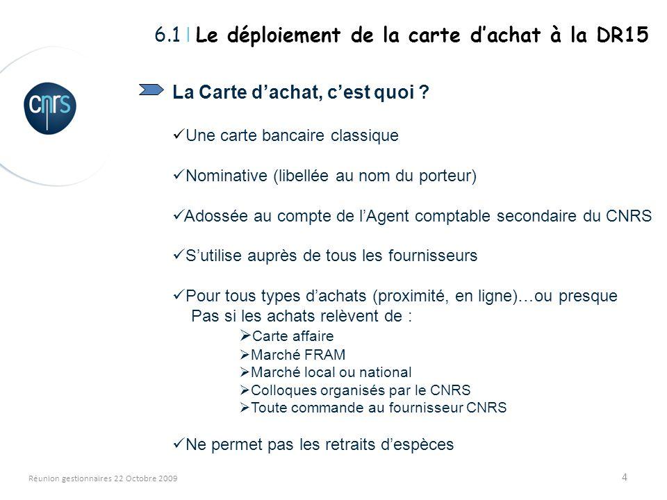 4 Réunion gestionnaires 22 Octobre 2009 La Carte dachat, cest quoi ? Une carte bancaire classique Nominative (libellée au nom du porteur) Adossée au c