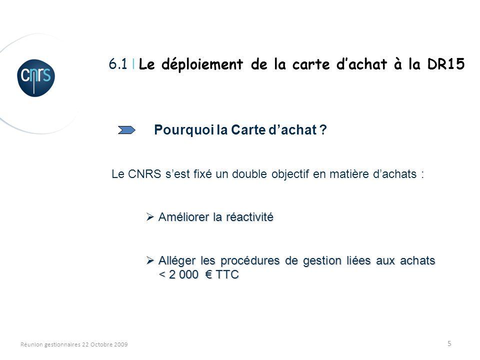 5 Réunion gestionnaires 22 Octobre 2009 Pourquoi la Carte dachat ? Le CNRS sest fixé un double objectif en matière dachats : méliorer la réactivité Am