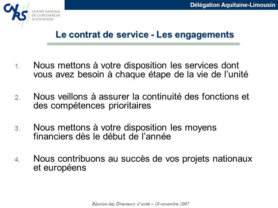 Réunion des Directeurs dunité – 19 novembre 2007 Délégation Aquitaine-Limousin 1. Nous mettons à votre disposition les services dont vous avez besoin