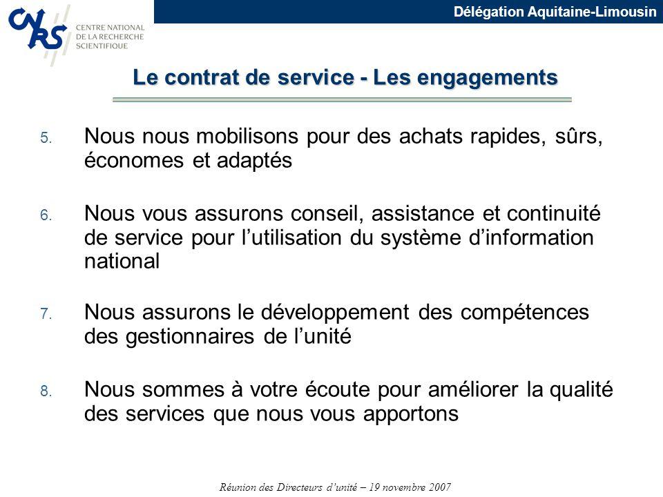Réunion des Directeurs dunité – 19 novembre 2007 Délégation Aquitaine-Limousin 5. Nous nous mobilisons pour des achats rapides, sûrs, économes et adap
