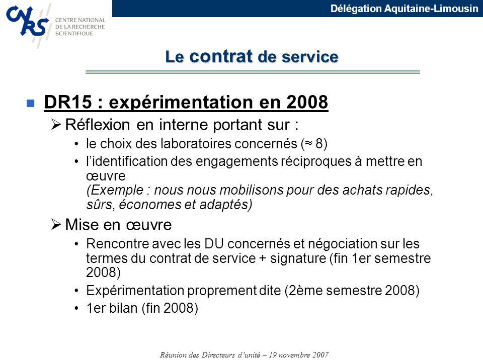 Réunion des Directeurs dunité – 19 novembre 2007 Délégation Aquitaine-Limousin Le contrat de service n DR15 : expérimentation en 2008 Réflexion en int