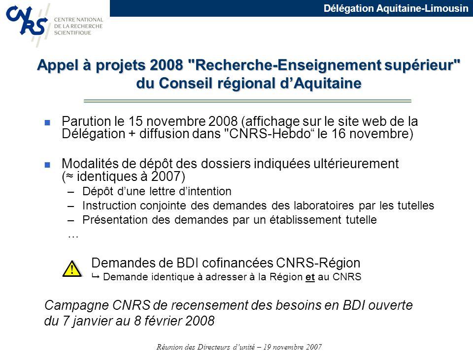 Réunion des Directeurs dunité – 19 novembre 2007 Délégation Aquitaine-Limousin Appel à projets 2008