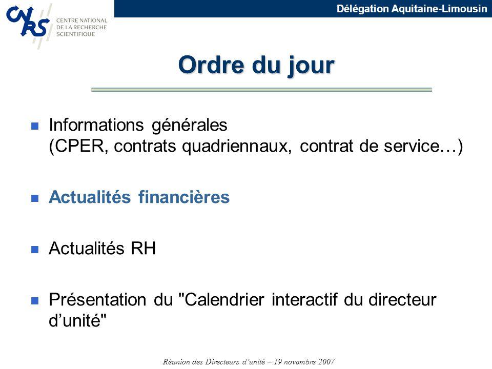 Réunion des Directeurs dunité – 19 novembre 2007 Délégation Aquitaine-Limousin Ordre du jour n Informations générales (CPER, contrats quadriennaux, co