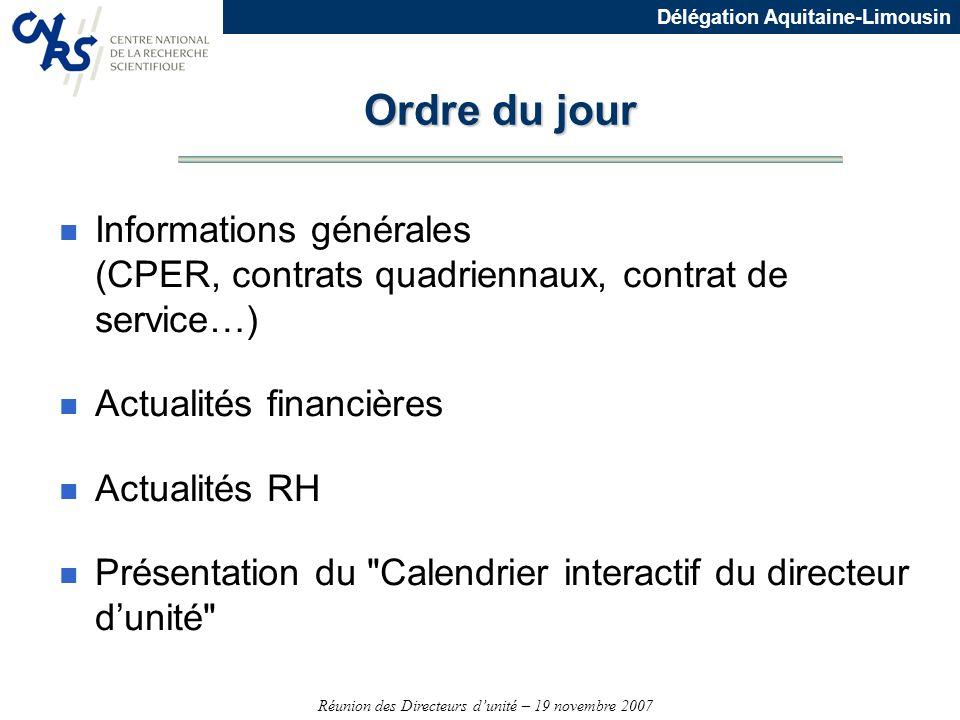 Réunion des Directeurs dunité – 19 novembre 2007 Délégation Aquitaine-Limousin CPER Aquitaine 2007-2013 Mise en oeuvre n Signature du CPER Etat-Région le 5 mars 2007 pour un montant global de 1.318,422 M dont 297,7M (40% Etat - 60% région) pour la recherche et lenseignent supérieur, soit 22,6% du contrat n Convention dapplication par grandes actions signature en novembre 2007 Etat/Région n Conventions dexécution pour les opérations soutenues par le CNRS signature Etat-Région/Universités/Ecole/CNRS avec un échéancier par opérations n Débuts des acquisitions et études dès 2007