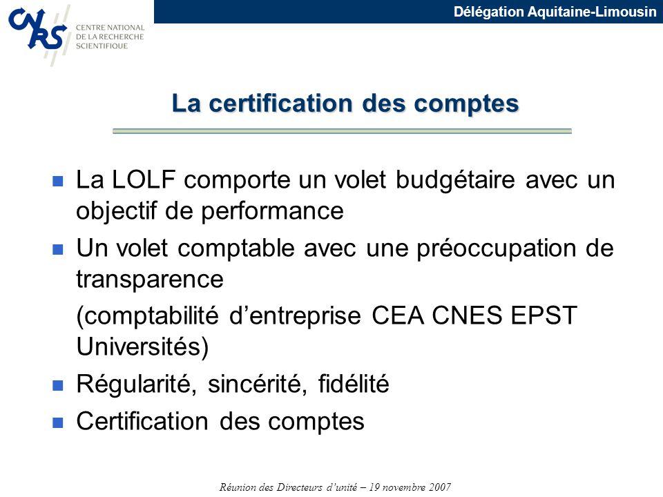 Réunion des Directeurs dunité – 19 novembre 2007 Délégation Aquitaine-Limousin n La LOLF comporte un volet budgétaire avec un objectif de performance