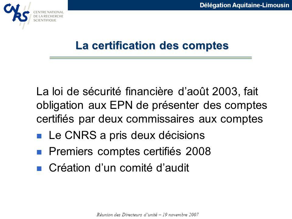 Réunion des Directeurs dunité – 19 novembre 2007 Délégation Aquitaine-Limousin La certification des comptes La loi de sécurité financière daoût 2003,