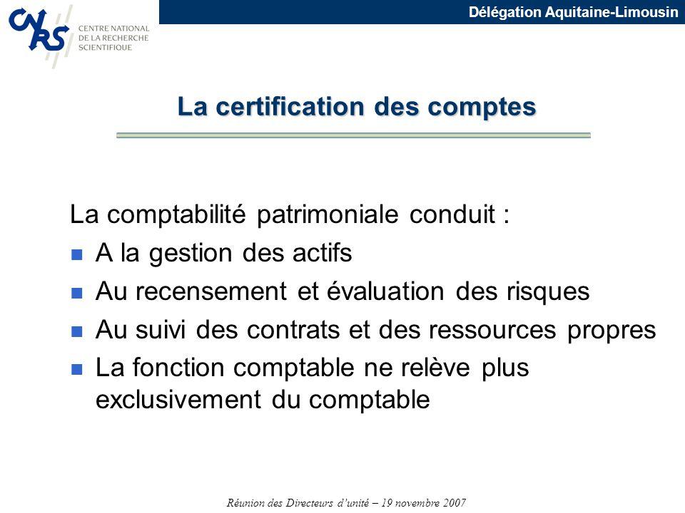 Réunion des Directeurs dunité – 19 novembre 2007 Délégation Aquitaine-Limousin La comptabilité patrimoniale conduit : n A la gestion des actifs n Au r