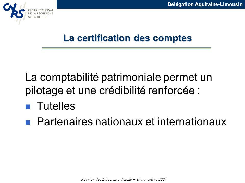 Réunion des Directeurs dunité – 19 novembre 2007 Délégation Aquitaine-Limousin La comptabilité patrimoniale permet un pilotage et une crédibilité renf