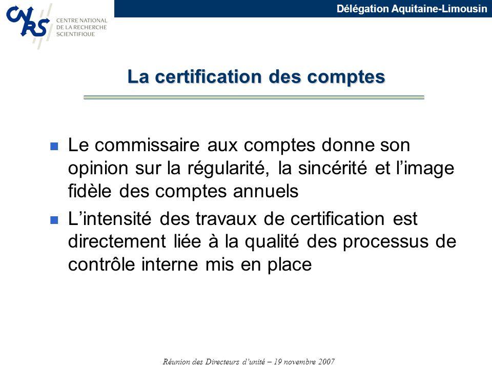 Réunion des Directeurs dunité – 19 novembre 2007 Délégation Aquitaine-Limousin n Le commissaire aux comptes donne son opinion sur la régularité, la si