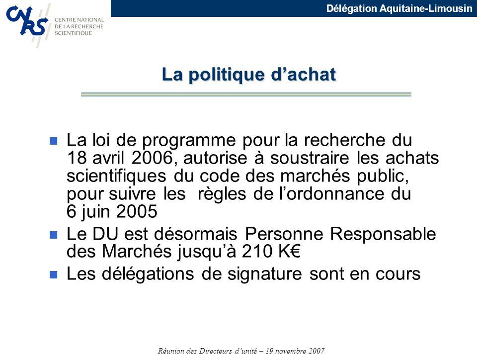 Réunion des Directeurs dunité – 19 novembre 2007 Délégation Aquitaine-Limousin La politique dachat n La loi de programme pour la recherche du 18 avril