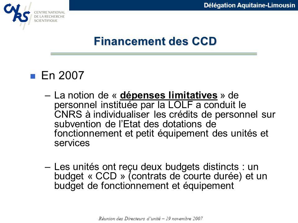 Réunion des Directeurs dunité – 19 novembre 2007 Délégation Aquitaine-Limousin Financement des CCD n En 2007 –La notion de « dépenses limitatives » de
