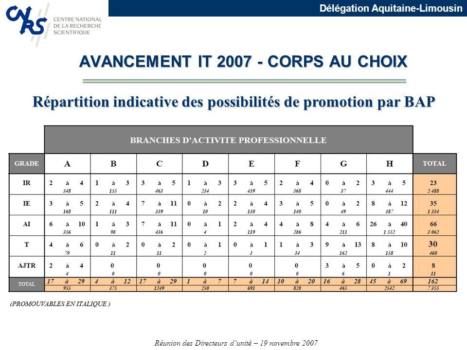 Réunion des Directeurs dunité – 19 novembre 2007 Délégation Aquitaine-Limousin AVANCEMENT IT 2007 - CORPS AU CHOIX Répartition indicative des possibil