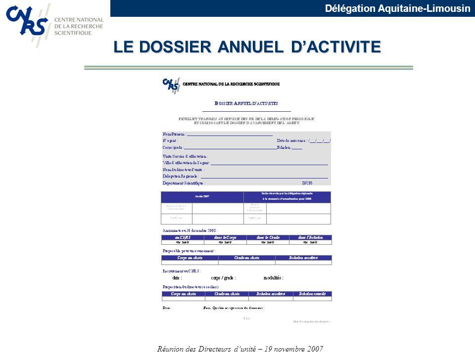 Réunion des Directeurs dunité – 19 novembre 2007 Délégation Aquitaine-Limousin LE DOSSIER ANNUEL DACTIVITE