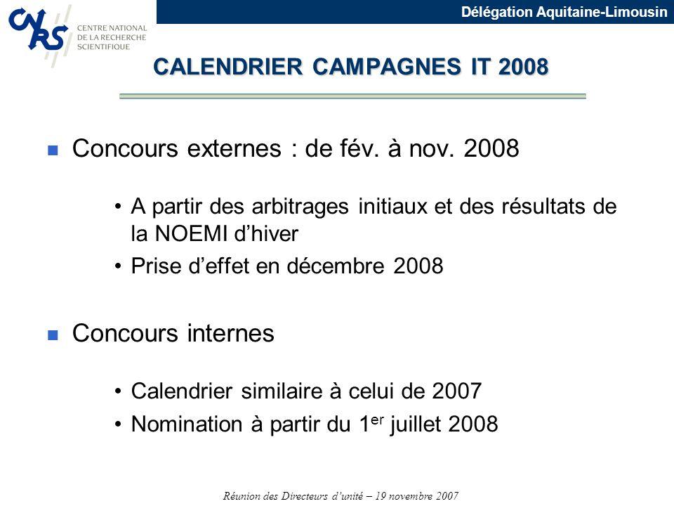 Réunion des Directeurs dunité – 19 novembre 2007 Délégation Aquitaine-Limousin n Concours externes : de fév. à nov. 2008 A partir des arbitrages initi