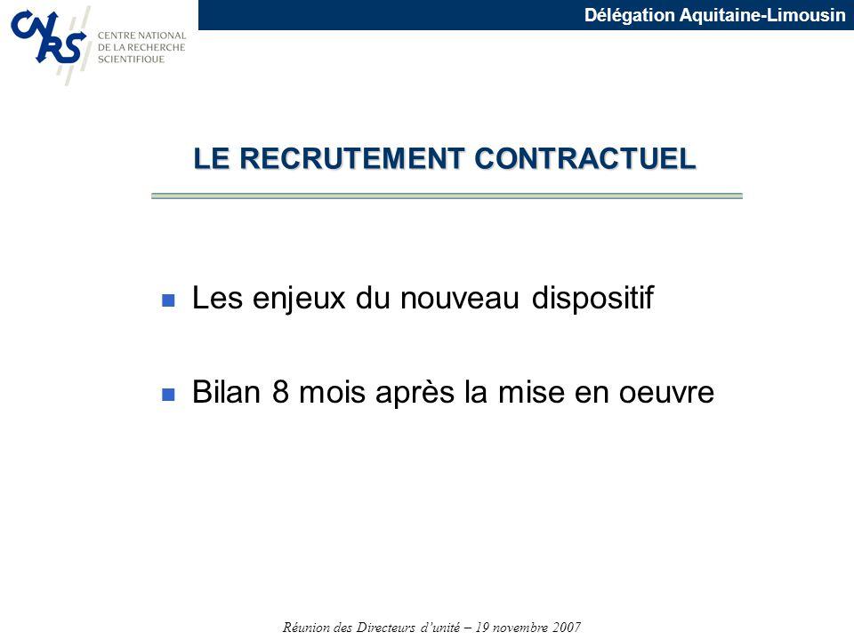 Réunion des Directeurs dunité – 19 novembre 2007 Délégation Aquitaine-Limousin LE RECRUTEMENT CONTRACTUEL n Les enjeux du nouveau dispositif n Bilan 8