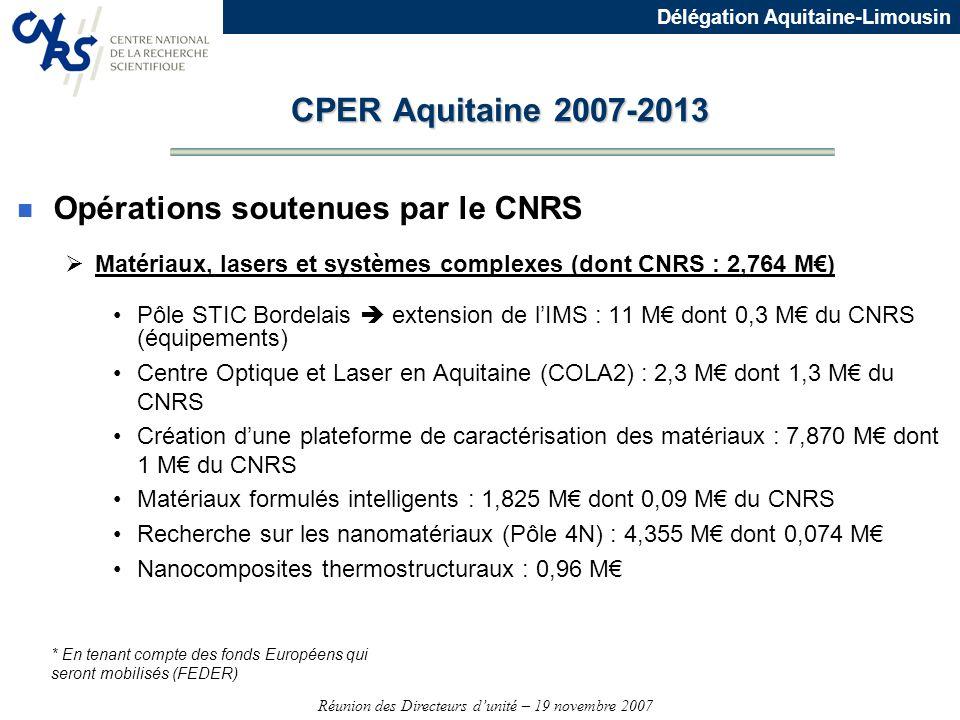 Réunion des Directeurs dunité – 19 novembre 2007 Délégation Aquitaine-Limousin n Opérations soutenues par le CNRS Matériaux, lasers et systèmes comple