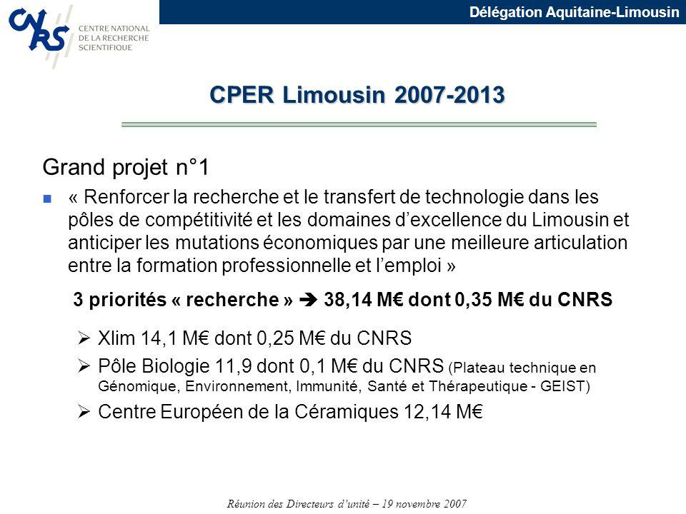 Réunion des Directeurs dunité – 19 novembre 2007 Délégation Aquitaine-Limousin Grand projet n°1 n « Renforcer la recherche et le transfert de technolo