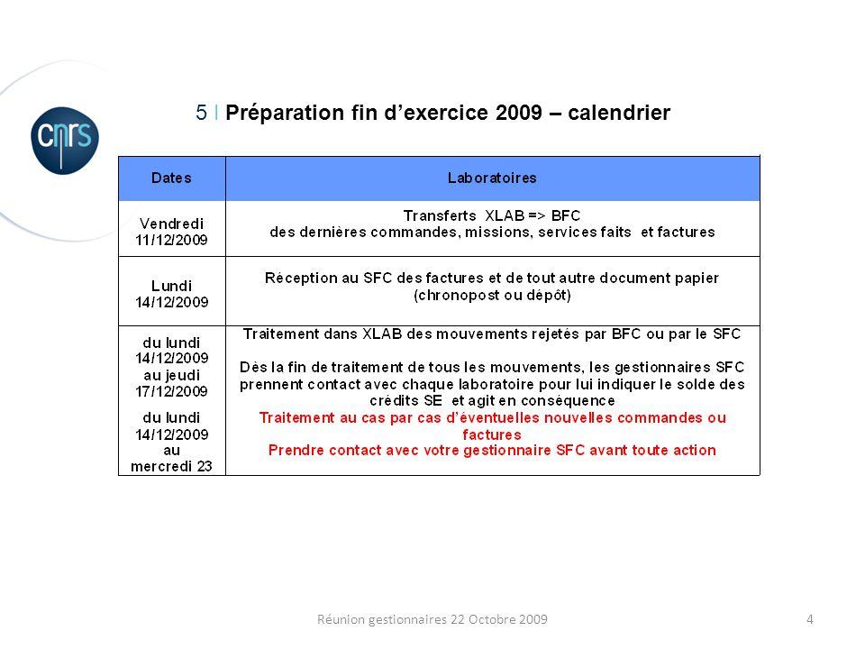 4Réunion gestionnaires 22 Octobre 2009 5 I Préparation fin dexercice 2009 – calendrier