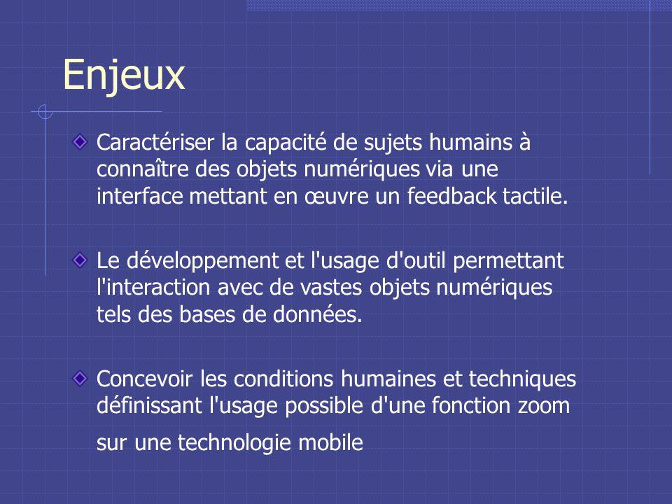 Enjeux Caractériser la capacité de sujets humains à connaître des objets numériques via une interface mettant en œuvre un feedback tactile.