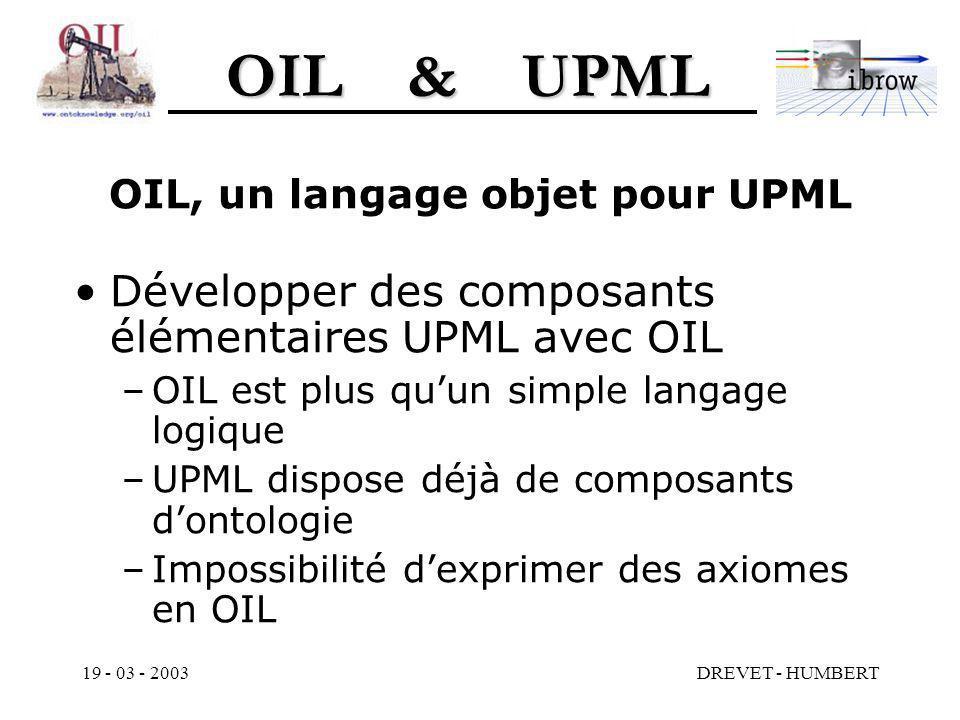 OIL & UPML 19 - 03 - 2003DREVET - HUMBERT OIL, un langage objet pour UPML Développer des composants élémentaires UPML avec OIL –OIL est plus quun simple langage logique –UPML dispose déjà de composants dontologie –Impossibilité dexprimer des axiomes en OIL