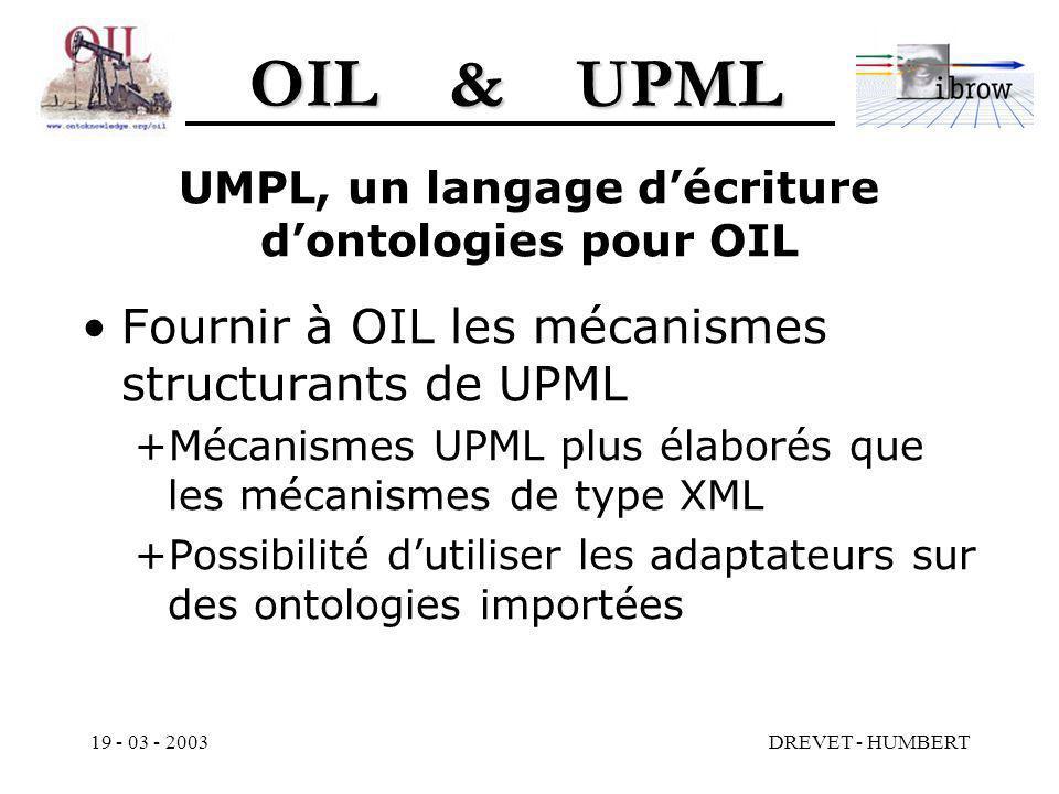 OIL & UPML 19 - 03 - 2003DREVET - HUMBERT UMPL, un langage décriture dontologies pour OIL Fournir à OIL les mécanismes structurants de UPML +Mécanismes UPML plus élaborés que les mécanismes de type XML +Possibilité dutiliser les adaptateurs sur des ontologies importées