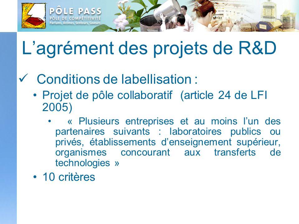Lagrément des projets de R&D Conditions de labellisation : Projet de pôle collaboratif (article 24 de LFI 2005) « Plusieurs entreprises et au moins lu