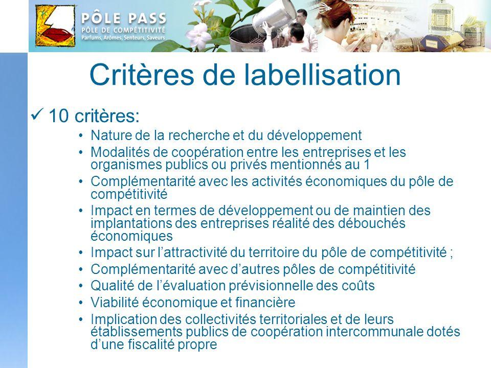 Critères de labellisation 10 critères: Nature de la recherche et du développement Modalités de coopération entre les entreprises et les organismes pub