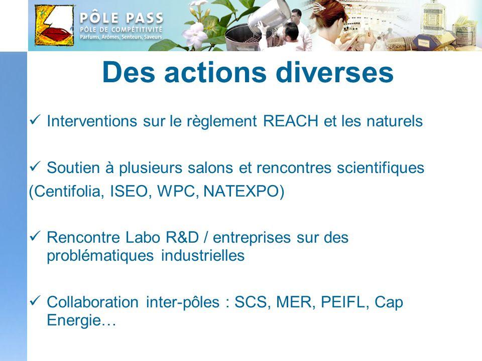 Des actions diverses Interventions sur le règlement REACH et les naturels Soutien à plusieurs salons et rencontres scientifiques (Centifolia, ISEO, WP