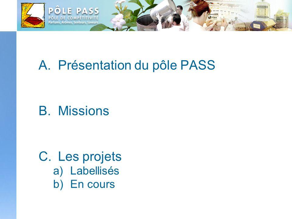 A.Présentation du pôle PASS B.Missions C.Les projets a)Labellisés b)En cours