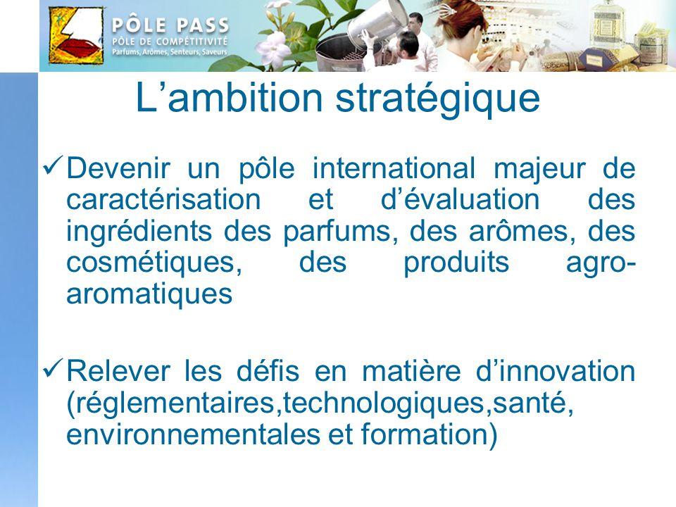 Lambition stratégique Devenir un pôle international majeur de caractérisation et dévaluation des ingrédients des parfums, des arômes, des cosmétiques,