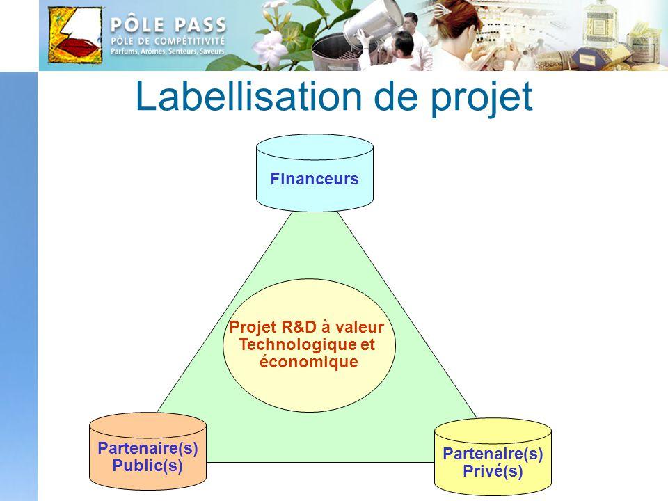 Labellisation de projet Partenaire(s) Public(s) Partenaire(s) Privé(s) Financeurs Projet R&D à valeur Technologique et économique