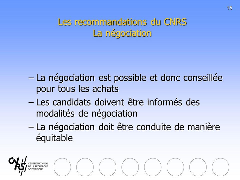 16 Les recommandations du CNRS Le choix de la meilleure offre -La PRM choisit loffre économiquement la plus avantageuse -La PRM consigne son choix dans le formulaire daccompagnement prévu à cet effet -La PRM informe les candidats rejetés -Avis dattribution -Signature du bon de commande ou du contrat