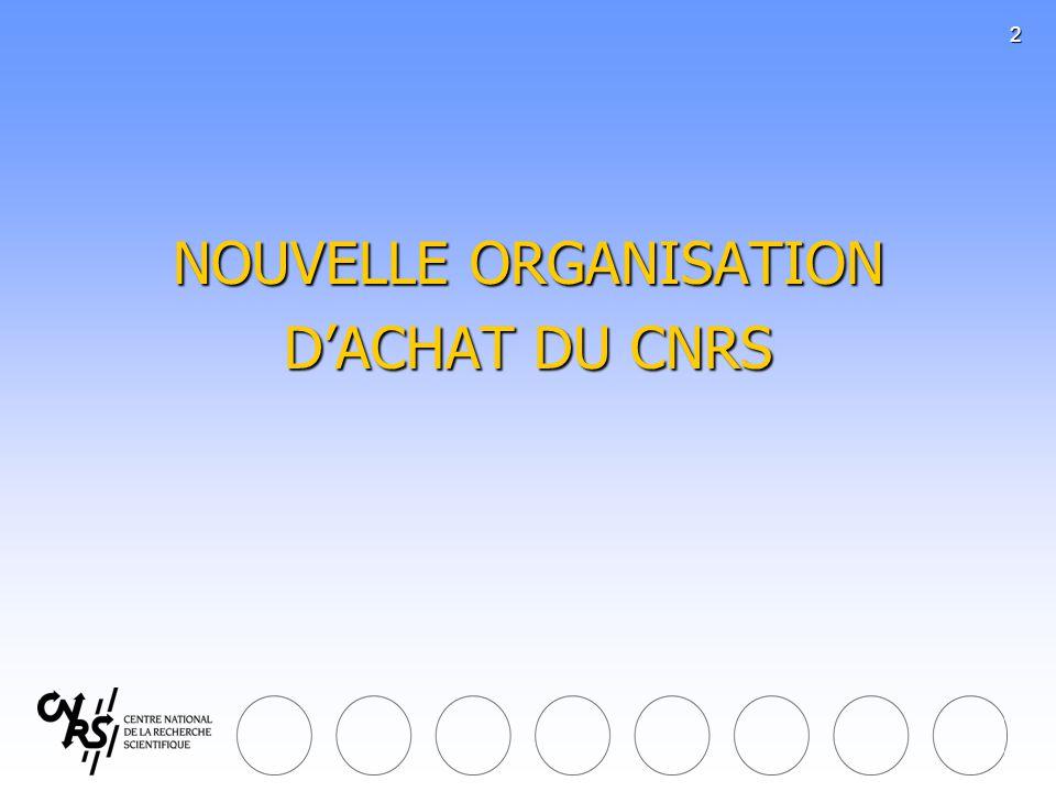 3 Deux réglementations au CNRS Deux réglementations au CNRS 1.Pour les achats effectués au bénéfice exclusif des unités : lordonnance du 6 juin 2005 et ses deux décrets dapplication (Décrets du 30 décembre 2005 et du 25 avril 2007) Décision du CNRS : les achats nécessaires aux laboratoires sont tous destinés aux activités de recherche => référence au destinataire de lachat et non à la nature de lachat 2.
