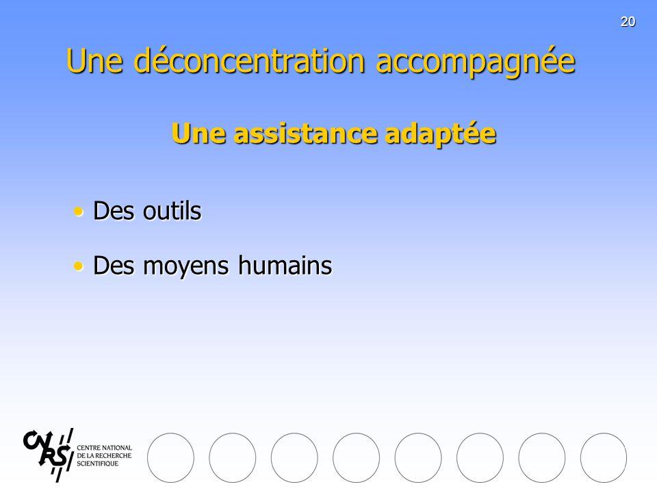 20 Une déconcentration accompagnée Une assistance adaptée Des outilsDes outils Des moyens humainsDes moyens humains