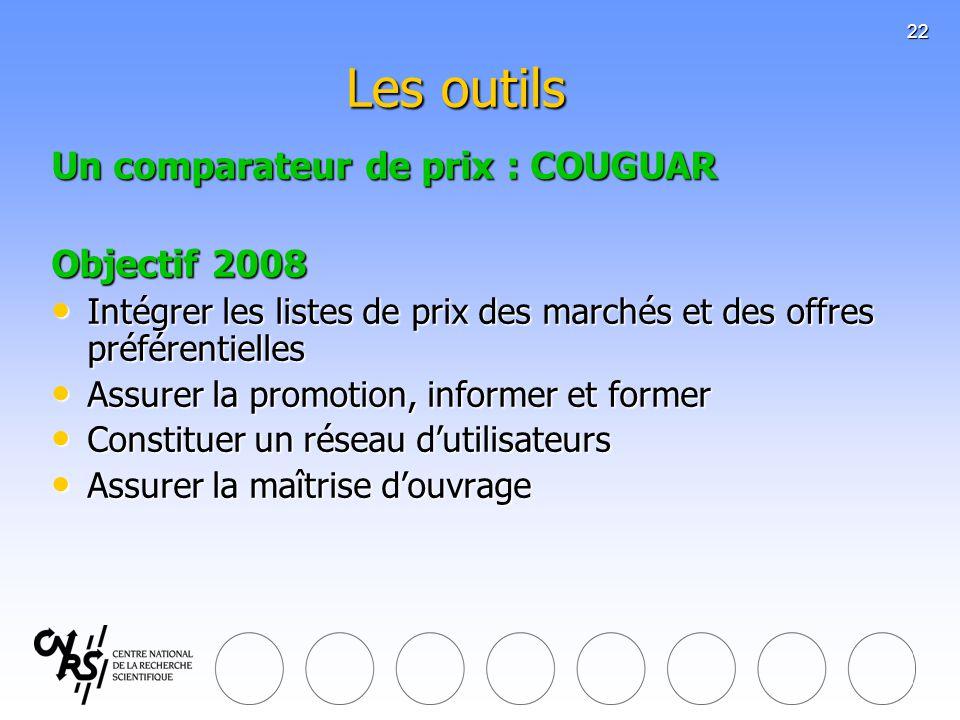 22 Les outils Un comparateur de prix : COUGUAR Objectif 2008 Intégrer les listes de prix des marchés et des offres préférentielles Intégrer les listes