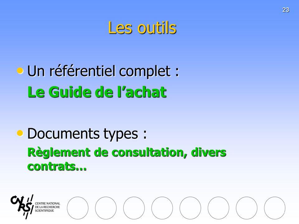 23 Les outils Un référentiel complet : Un référentiel complet : Le Guide de lachat Documents types : Documents types : Règlement de consultation, dive