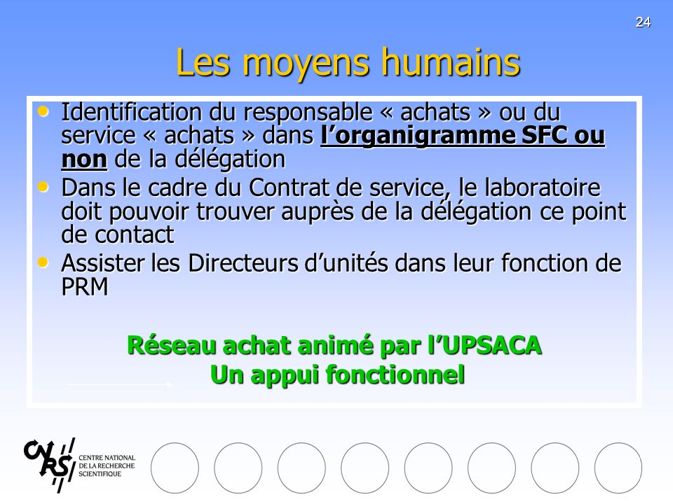 24 Les moyens humains Identification du responsable « achats » ou du service « achats » dans lorganigramme SFC ou non de la délégation Identification
