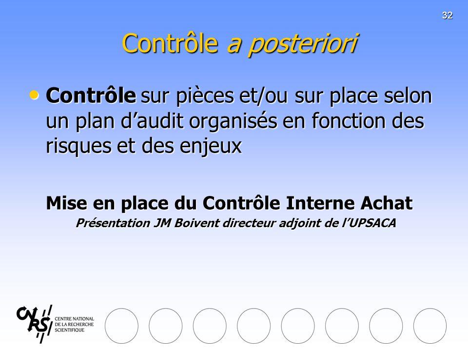 32 Contrôle a posteriori Contrôle sur pièces et/ou sur place selon un plan daudit organisés en fonction des risques et des enjeux Contrôle sur pièces