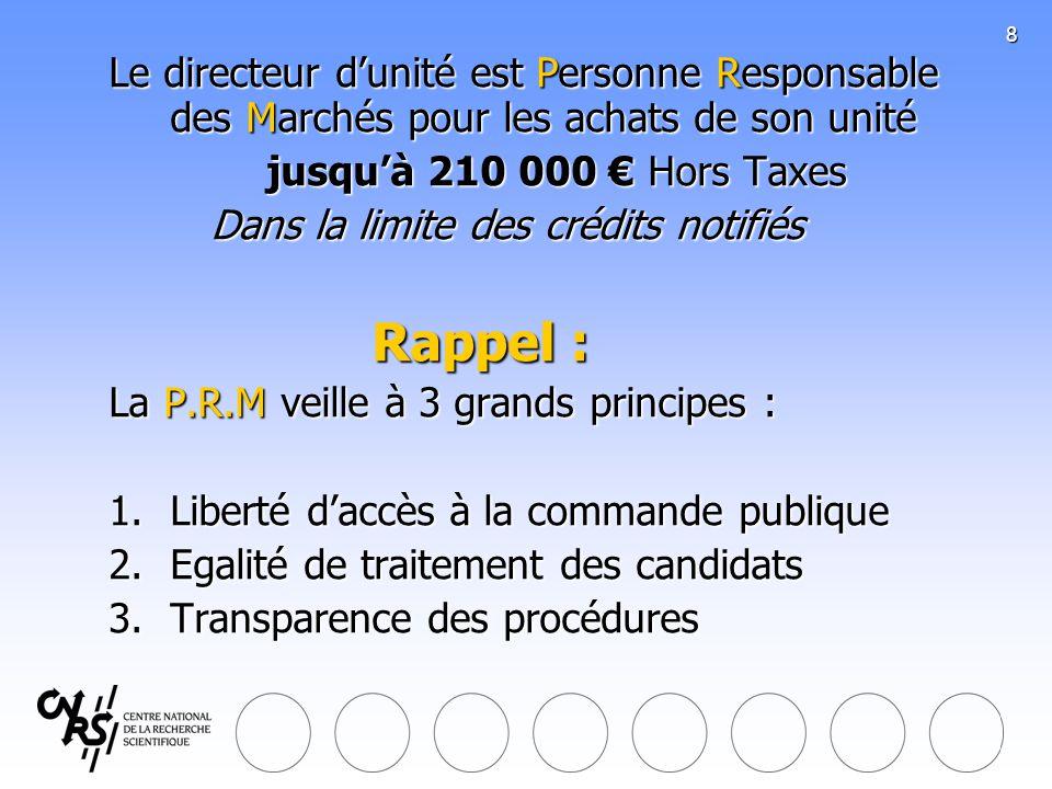 8 Le directeur dunité est Personne Responsable des Marchés pour les achats de son unité jusquà 210 000 Hors Taxes Dans la limite des crédits notifiés