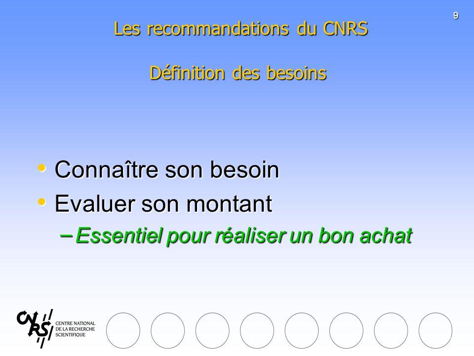 9 Les recommandations du CNRS Définition des besoins Les recommandations du CNRS Définition des besoins Connaître son besoin Connaître son besoin Eval