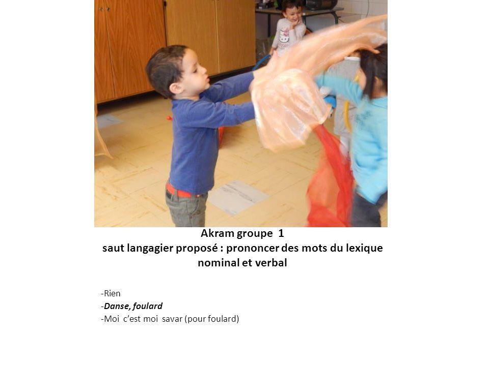 Akram groupe 1 saut langagier proposé : prononcer des mots du lexique nominal et verbal -Rien -Danse, foulard -Moi cest moi savar (pour foulard)
