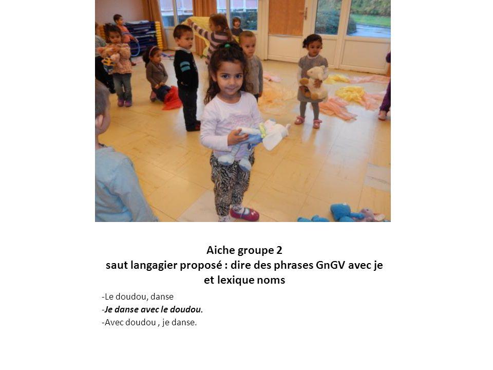 Aiche groupe 2 saut langagier proposé : dire des phrases GnGV avec je et lexique noms -Le doudou, danse -Je danse avec le doudou. -Avec doudou, je dan