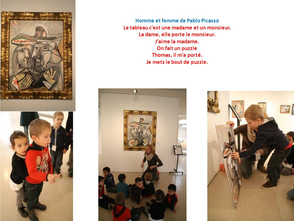 Homme et femme de Pablo Picasso Le tableau cest une madame et un monsieur.