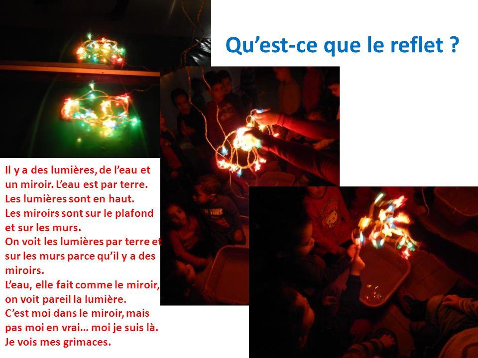 Quest-ce que le reflet . Il y a des lumières, de leau et un miroir.