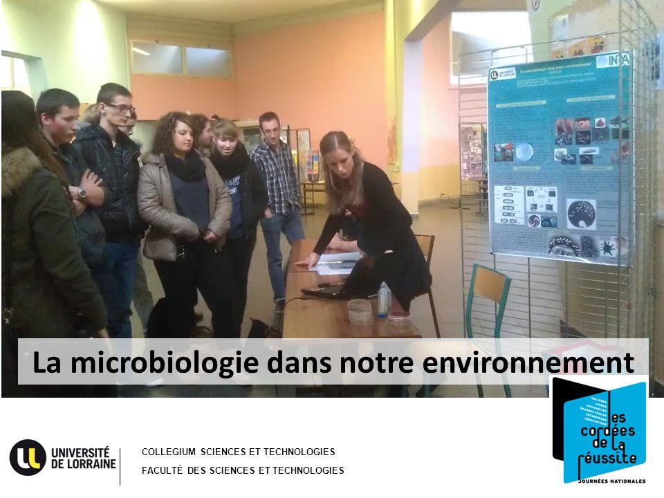 COLLEGIUM SCIENCES ET TECHNOLOGIES FACULTÉ DES SCIENCES ET TECHNOLOGIES La microbiologie dans notre environnement